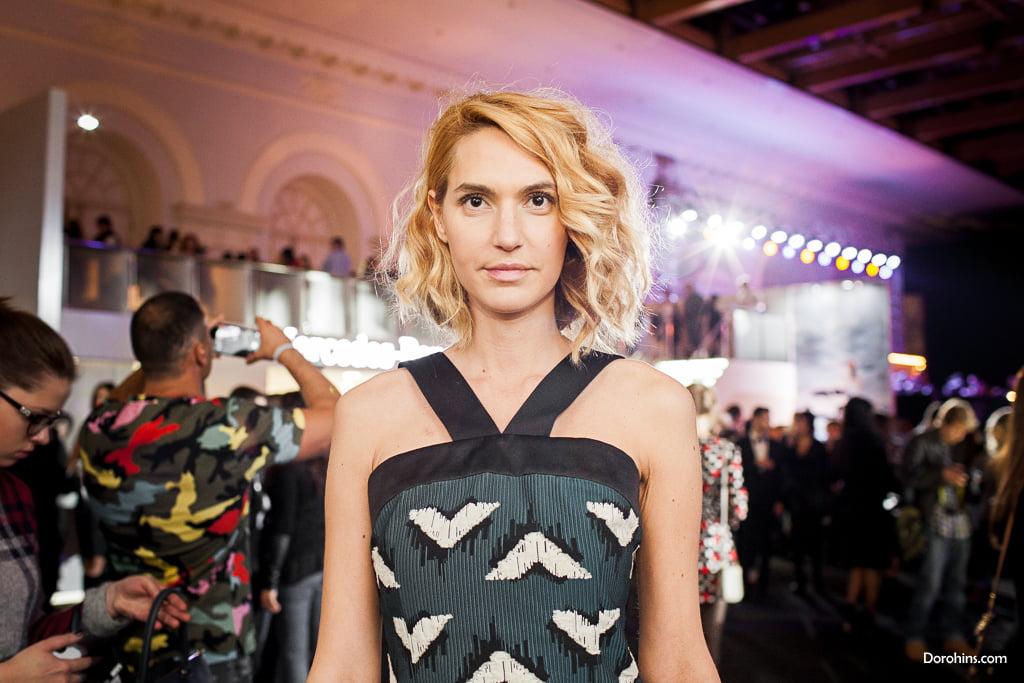 Марина Сашина_Mercedes-Benz Fashion Week Russia_гости 3 день_Яся Миночкина, гости показа Миночкина_показ