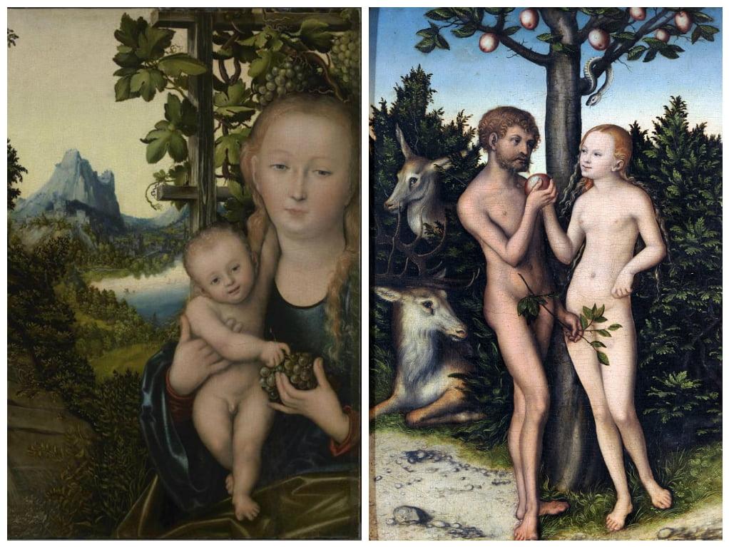 картина Мадонна с младенцем_картина Адам и Ева в Эдемском саду