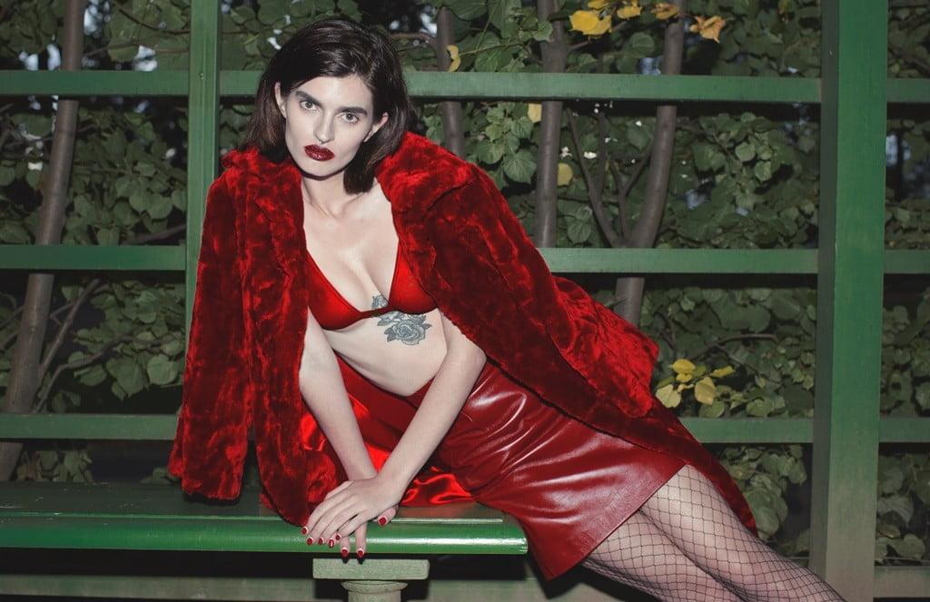 Fur coat So Number One_Leather skirt –Asya Malbershtein_Red bra  Louti One_Likachev Rostislav_Alexandra Panika_Sidorenko Svetlana