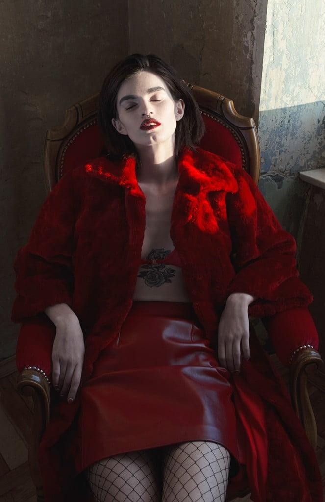 Fur coat  So Number One_Leather skirt  Asya Malbershtein_Red bra Louti One_Likachev Rostislav_Alexandra Panika_Sidorenko Svetlana