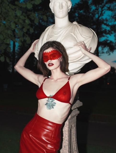 Leather skirt Asya Malbershtein_Red bra Louti One_Likachev Rostislav_Alexandra Panika_Sidorenko Svetlana_саша паника_саша паника модель
